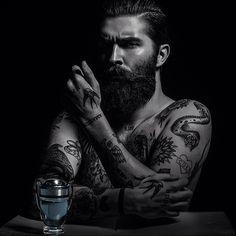 Chris John Millington - full thick dark beard mustache beards bearded man men mens style model tattoos tattooed bearding #beardsforever