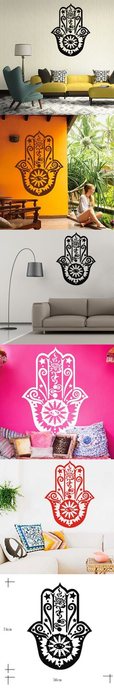 Funlife Art Design Hamsa Hand Wall Decal Vinyl Fatima Yoga Vibes Sticker Fish Eye Decals Indian Buddha Home Decor Lotus Mural $6.99