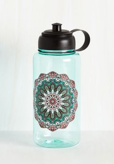 Hydrated and Mighty Water Bottle in Medallion. While water is excellent for your body, sipping from this translucent teal bottle is even better for your spirit! #multi #modcloth