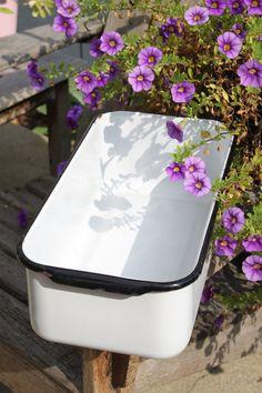 Vintage Enamelware Large Bread Pan, Refrigerator Pan White Enamel With Black Rim