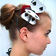 If we can't get hats for everyone is is a cheaper alternative... card hairbow ---reminds me of alice in wonderland