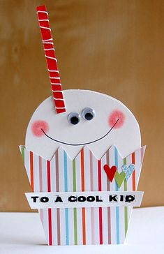 GCD_JulyCoolKid--Today, I'm bringing you two silly and goofy shaped birthday cards for kids. Our theme this month was to party it up and make something birthday inspired.