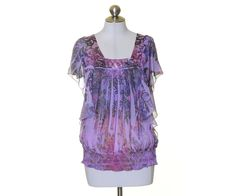 Apt. 9 Purple Artsy Sheer Crinkled Chiffon Square Neck Short Sleeve Blouse S #Apt9 #Blouse #Casual