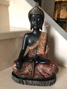 Effet bois Thai Bouddha Tête Sur Genou Rustique Maison Décoratif Ornement Figurine