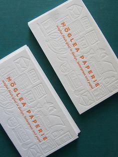 blind letterpress + layering +tangerine.