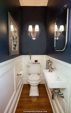 41 Cool Half Bathroom Ideas And Designs You Should See # bathroom # . 41 Cool Half Bathroom Ideas And Designs You Should See # bathroom Half Bathroom Decor, Bathroom Interior, Modern Bathroom, Bathroom Remodeling, Half Bathroom Remodel, Bathroom With Wainscotting, Narrow Bathroom, Minimalist Bathroom, Guest Bathroom Colors