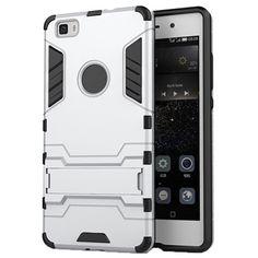 Huawei P8 Lite Hybrid Aftagelig Stander Cover - Sølv