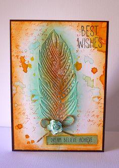 "Created with Kaisercraft embossing folder ""feather"" Adriana Bolzon http://abinspirations.blogspot.com.au/"
