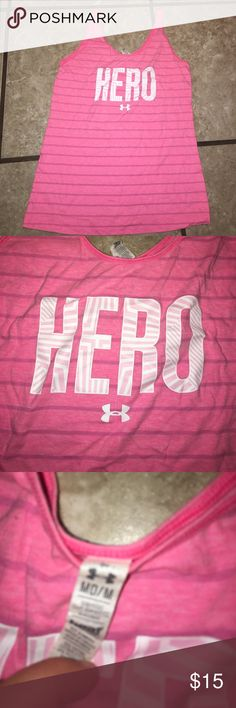 Under armour breast cancer tank M ❤️ Super cute breast cancer tank under armour perfect for those intense workouts! Under Armour Tops Tank Tops