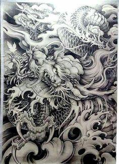 ART BOOK Many ideas! Dragon TATTOO DESIGNS 02-225 Motifs r