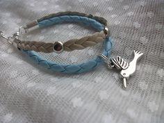 Blue Beige Bird Bracelet