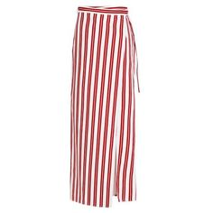Balenciaga Striped Wrap Skirt (7,840 EGP) ❤ liked on Polyvore featuring skirts, red, folded skirt, stripe skirt, striped wrap skirt, red skirts and wrap around skirt