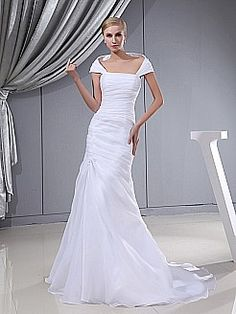 Organza and Satin Capped Sleeved Pleated Wedding Dress - USD $182.00