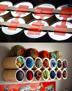 58 ways to organize your entire home! so many cool ways to organize. large and small. apartment or big house. good ideas! Shown: Use Repurposed Coffee Canisters to Store Yarn