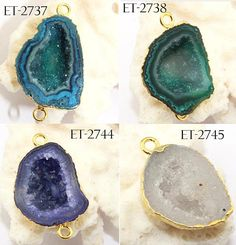 Do it yourself Naturel Agate Druzy GEODE Druzy 24k Plaqué or Connecteur Making Jewelry
