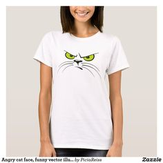 Shop Angry cat face, funny vector illustration, minimal T-Shirt created by PiciaReiss. Angry Cat, Angry Girl, Cat Shirts, Cat Face, Shirts For Girls, Everyday Fashion, Shirt Style, Cool Style, Casual Outfits