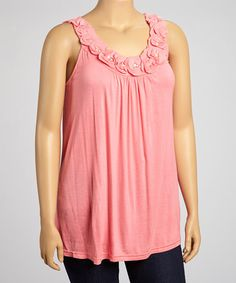 Coral Rosette Pearl Sleeveless Top - Plus