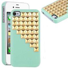 grün Punk Stil Goldenen Pyramid Nieten und Spikes Decoration Handy hülle für iPhone 4 4S hüllen / Case / Cover / hülle (Handarbeit)