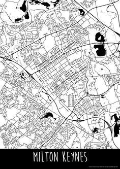 Milton Keynes Town England Art Map Roads Print  Your by ILLAstudio