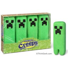 Minecraft CREEPS are an officially licensed Minecraft collectible edible. Like their more passive cousins, CREEPS deliver the awesome sugar-fuelled rush that parents love. It's incredibly helpful when trying to herd children into pastel-colored sweater vests or flowery dresses.    Oh dear heaven, why.