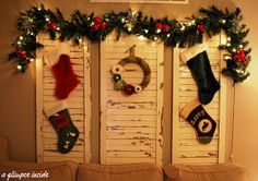 shutters as stocking holders! Fantastic idea because we have no where to hang them! Burlap Wreath Tutorial, Diy Wreath, Country Christmas, Christmas Holidays, Christmas Ideas, Merry Christmas, Happy Holidays, Christmas Blessings, Christmas Inspiration