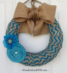 burlap wreaths | Mini Bright Blue Chevron Wreath from www.WeddingsAndWreaths.etsy.com