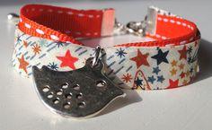 Liberty of London Stars Fabric Children Wrap Bracelet with Little Bird Charm. $15.00, via Etsy.