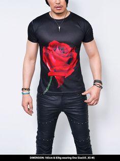 Big Red Rose Slim Fit Black Round-Tee 709 by Guylook.com
