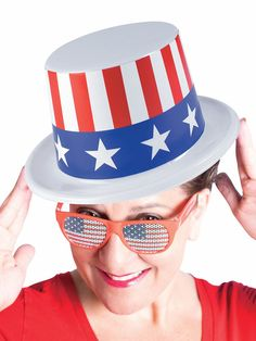 Check out Patriotic Plastic Top Hat from Wholesale Halloween Costumes Wholesale Halloween Costumes, Fourth Of July, Costume Ideas, Gender, Plastic, Hats, Check, Hat, Hipster Hat