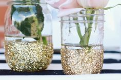 NYE Party DIY giltter vases! Great for an outdoor #sweetXV party