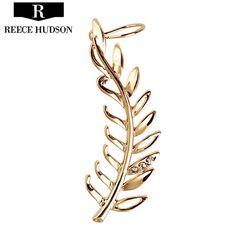 Pendientes New Fashion Rhinestone Clip Earrings For Women Smooth Surface Gold Leaf Earring Ear Cuff Brincos Free Shipping