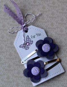 Purple button hair clips