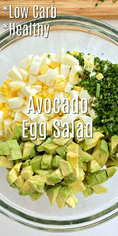 Keto Avocadeo Egg Salad Recipe - Make a filling and fresh low-carb lunch. This keto avocado egg salad recipe is bursting with flavor, and it's super easy! Keto Egg Salad, Healthy Egg Salad, Easy Egg Salad, Avocado Egg Salad, Healthy Salad Recipes, Avocado Toast, Diet Recipes, Healthy Snacks, Vegetarian Recipes