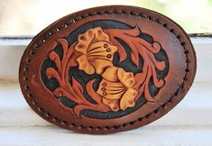 gorgeous carved leather belt buckle