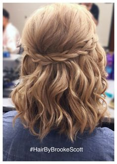 Brookes simple braided half updo for short hair in the AV Beauty Bar in OTR (Cincinnati) Ohio New Site Bridesmaid Hair Updo Bar Beauty braided Brookes Cincinnati Hair Ohio OTR Short Simple Site Updo Prom Hairstyles For Short Hair, Braids For Short Hair, Short Hair Braids Tutorial, Wedding Hairstyles For Short Hair, Simple Updo Short Hair, Bob Hair Updo, Braids Medium Hair, Hair Updo Easy, Short Hair Tutorials