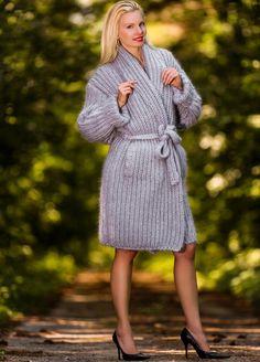 NEW Hand Knit Mohair Coat GRAY Fuzzy Shawl Collar Ribbed Cardigan by SUPERTANYA #SUPERTANYA #BasicCoat