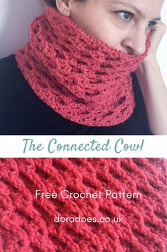The Connected Cowl - Free Crochet Cowl Pattern. Olympian level warmth! The crochet pattern for this chunky textured women's neck warmer is quick and easy, so it��s great for beginners / new crocheters.  Made from one skein of Lion Brand Heartland, or any o