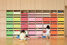 emmanuelle moureaux's creche ropponmatsu kindergarten uses color as a three-dimensional element in order to create a welcoming atmosphere for the children.