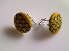 African Print Button Cufflinks Mustard & Gold by JustThingsbyLx, £6.00