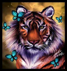 Diamond Painting Starter Kit Tiger Butterflies makes beautiful diamond art for animal lovers! This diamond painting kit has everything you need to create a tattoos shoulder tattoos designs tattoos face tattoos forearm Tiger Drawing, Tiger Art, Tiger Head, 3d Drawings, Animal Drawings, Art Tigre, Tiger Pictures, Tiger Images, Tiger Wallpaper