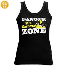 Faschings/Party-Girlie-Top/Träger-Shirt/ Damen Tank Top: Danger It`s Karneval Zone cooler Look (*Partner-Link)