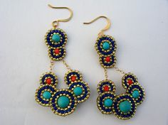 Turquoise and Coral Dangle Earrings Turquoise and by ShegoAndHen
