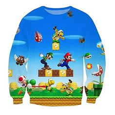 Parakeet Cute Super Mario Bros Games Cartoon Hoody Casual Sweatshirt XL ** See this great product. This is an Amazon Affiliate links.