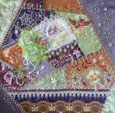 Lavender and lime crazy quilt block from http://ceoriginals.blogspot.com/2011/12/lavender-and-lime-christmas-cq-block.html.  The way she uses color evokes winter beautifully.