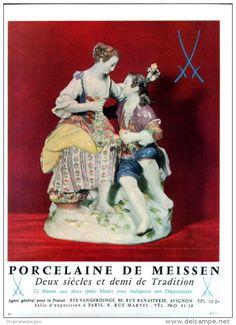 Original-Anzeige / Publicité 1957 - (en français) PORCELAINE DE MEISSEN - ca. 200 x 270 mm