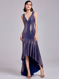 b77ffa57dbb9 Prom Dresses Long V Neck Rufflles Plum High Low Asymmetrical Formal Party  Dress