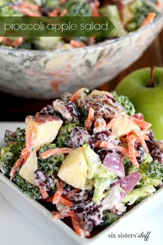 Apple Broccoli Salad - Broccoli Salad is definitely one of my favorites. It's so easy to make and I actually enjoy eating broccoli this way. It's a new family favorite, and a great way to put all my fall apples to use.