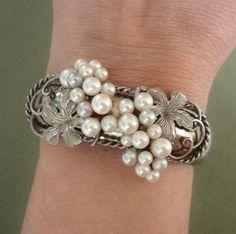 RARE & GORGEOUS Mikimoto Akoya Pearls Vintage Sterling Bracelet, c. 1930-40's !