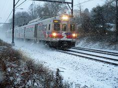 SEPTA Regional Rail approaching Noble Station. 12-30-17