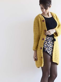 Mustard Crochet Kimono Jacket, pattern for purchase Crochet Jacket Pattern, Crotchet Patterns, Crochet Pouch, Cute Crochet, Kimono Jacket, Kimono Cardigan, Kimono Style, Cardigans For Women, Jackets For Women